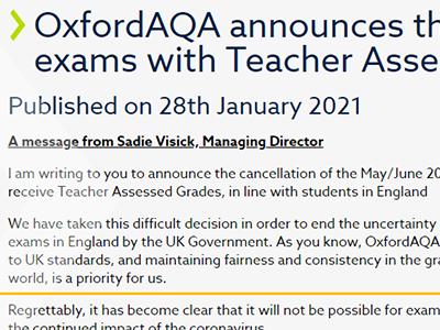 国际考生请注意:牛津AQA考试局夏季大考取消了 将会使用教师评估代替大考